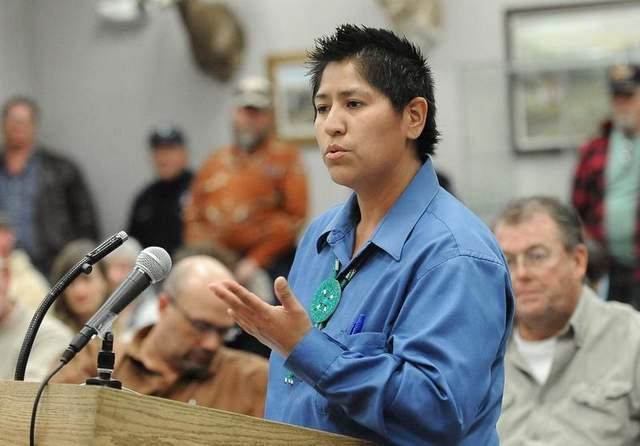Raquel Arthur, president of the Northern Nevada chapter of the American Indian Movement, speaks against bear hunting during the public comment period of the Nevada Board of Wildlife Commissioners meeting at the Nevada Department of Wildlife in Reno on March 23, 2012. / Andy Barron/RGJ file