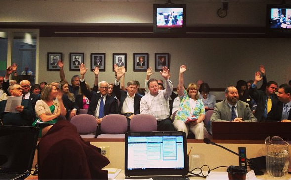 A show of hands in support of AB46 at the Assembly Ways and Means Committee on May 13, 2013. Photo by David Bobzien / Instagram