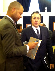 Actor Nicolas Cage talks with Sen. Aaron Ford in the legislature building on May 7, 2013. Photo by Natasha Vitale