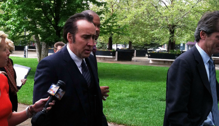 Actor Nicolas Cage walks from the Legislature building in Carson City on May 7, 2013. Photo by Natasha Vitale