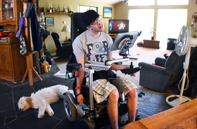 Connor Fogal sits in his Reno home. Photo by Alex Pompliano
