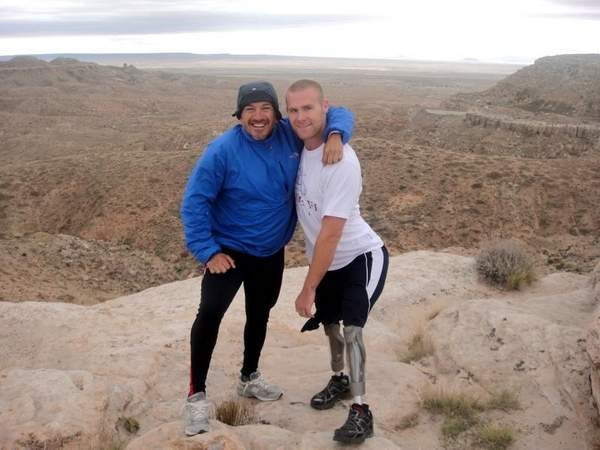 Charles Padilla and British Royal Marine Mark Ormrod pause in Gallup, N.M., during the Gumpathon.