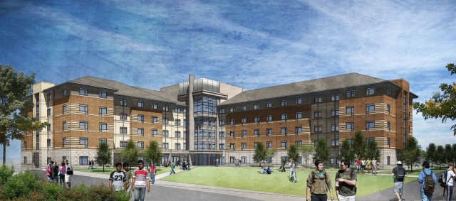"""A rendering of UNR's newly designed Residence Hall, plans to address the needs of an expanding student population, will be located in the heart of the University's Residential Hall """"District"""""""