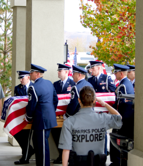 Michael Landsberry's casket was draped with an American flag to honor the fallen veteran on Nov. 3, 2013 in Sparks, Nev. / Photo by Nikki Zander