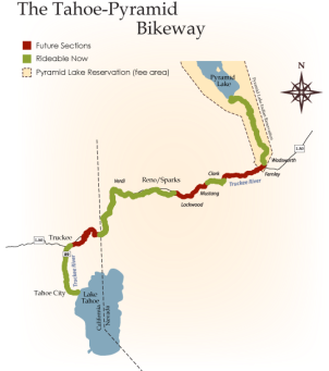 A map displaying the entire path and the finished sections and future sections. / Courtesy of Tahoe Pyramid Bikeway website.