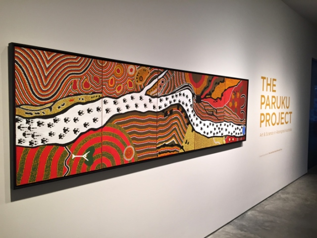 "The first artwork you see as you enter ""The Paruku Project"" was made by Jamie Brown and Hanson Pye titled ""Parnkupirti"". The original was considered too important to the community, and this one was created specially for the NMA. /Photo by: Zoe Wentzel"