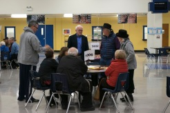 Members of precinct 1006 engage in discussion during the Nevada Republican Caucus in Reno High School on Feb. 23.
