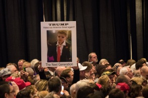 Supporters hold signs at a Trump rally on Feb. 23 at the Nugget Resort Casino in Sparks, Nev. Photo by Karlye Kost.