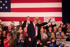 Trump gestures during a campaign rally at the Nugget Resort Casino in Sparks, Nev. on Feb. 23.