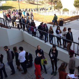Students wait in line to caucus at the University of Nevada, Reno, on Feb. 20, 2016.